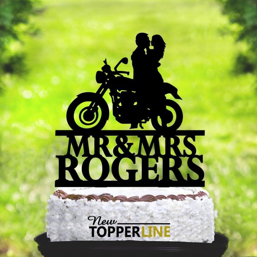 Wedding - Motorcycle Wedding Cake Topper,Motorbike Cake Topper,Groom On Motorcycle,Custom Cake Topper,Funny Cake Topper,Bike Cake Topper (2059)