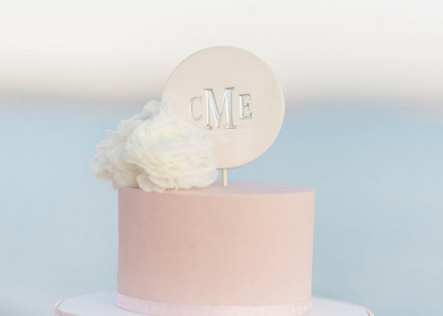 Wedding - Modern Wedding Cake Topper - PERSONALIZED - in Silver