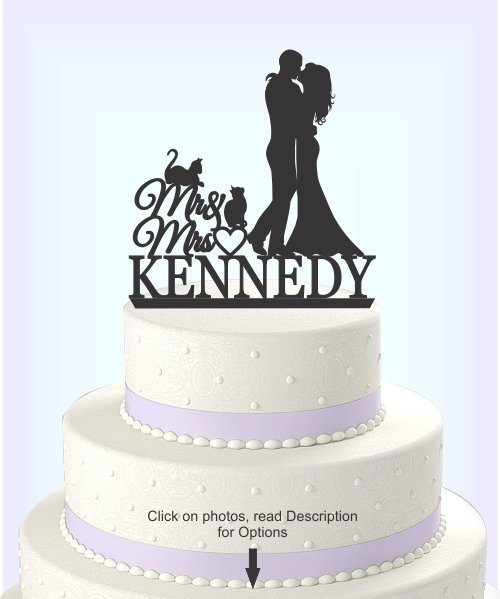 Wedding - Wedding Cake Topper, Bride and Groom, Mr and Mrs, Personalized with Last Name, 2 Cats, Acrylic Cake Topper [CT81nc]