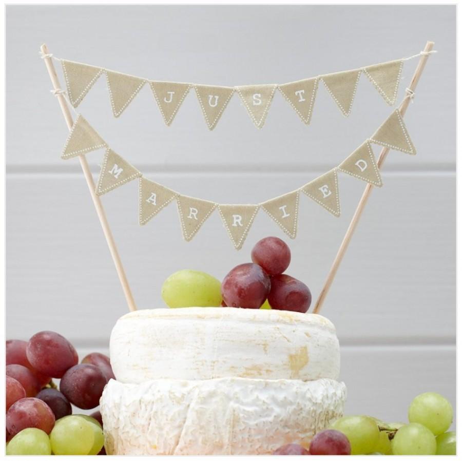 Wedding - Just Married Cake Bunting - Rustic Wedding