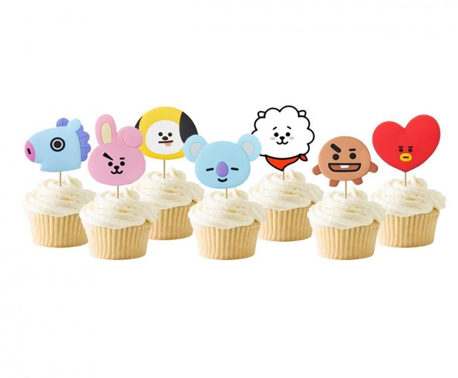 Wedding - BTS Cupcake Topper, K-Pop Party Decorations, Bt21 Birthday Party Decor