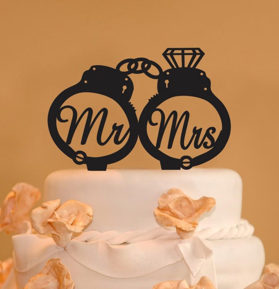 Wedding - Handcuffs wedding cake topper - Mr. and Mrs. handcuffs wedding cake topper - police cake topper - handcuffs with diamond - handcuffs topper