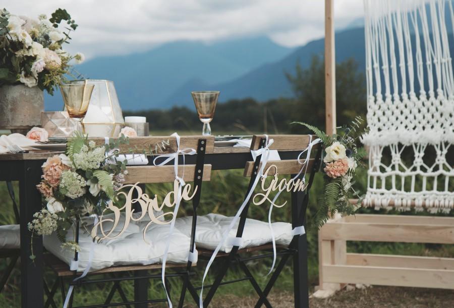 Wedding - Bride and Groom Wedding Chair Signs, Rustic Wedding Decor, Wedding Decoration, Wedding Decorations, Wedding Sign, Wood Sign, Rustic Wedding