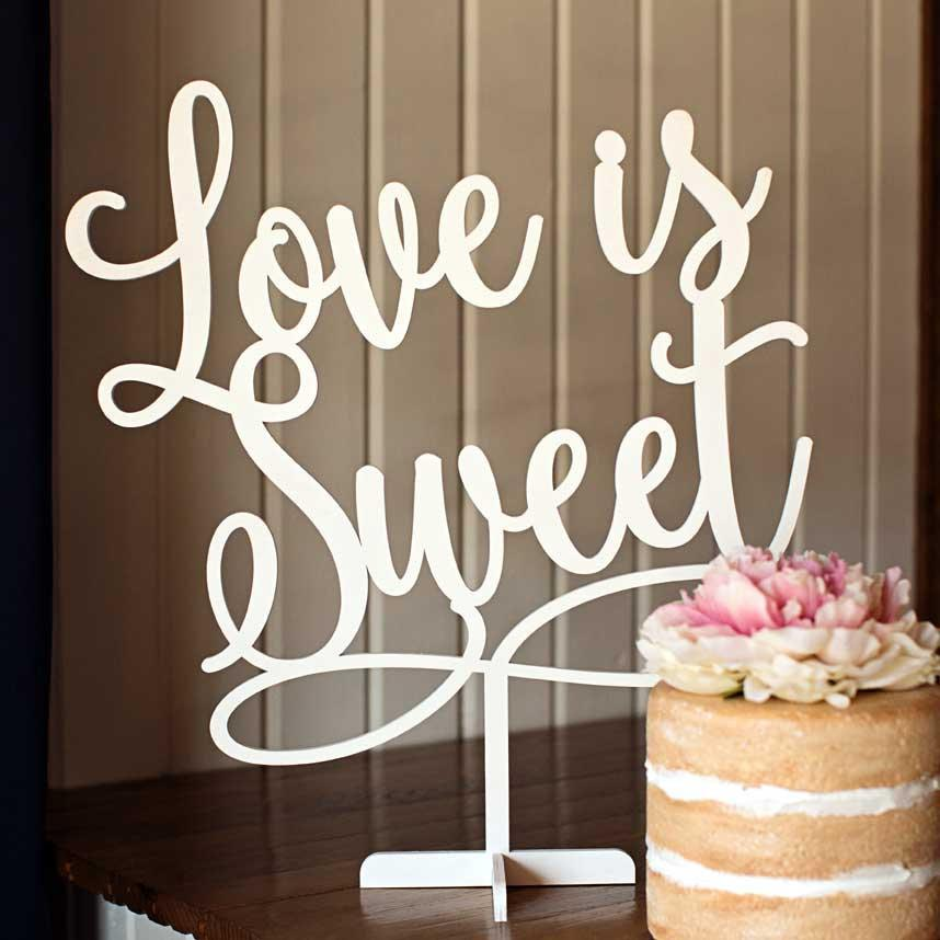 Wedding - Love is Sweet - Dessert Table Decor - Wedding Table Sign - 190223 - The Wooden Hare - thewoodenhare