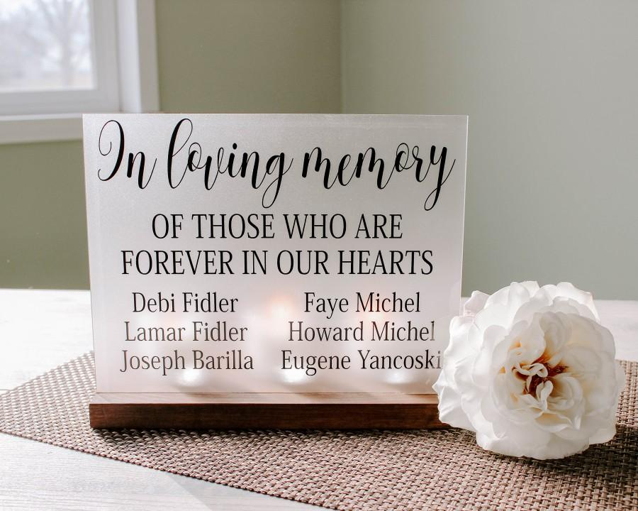 Mariage - Customized Wedding Memorial Sign - Acrylic Wedding Sign - Memorial Candle - Memory Wedding Decor - Wedding Luminary - Bereavement Gift