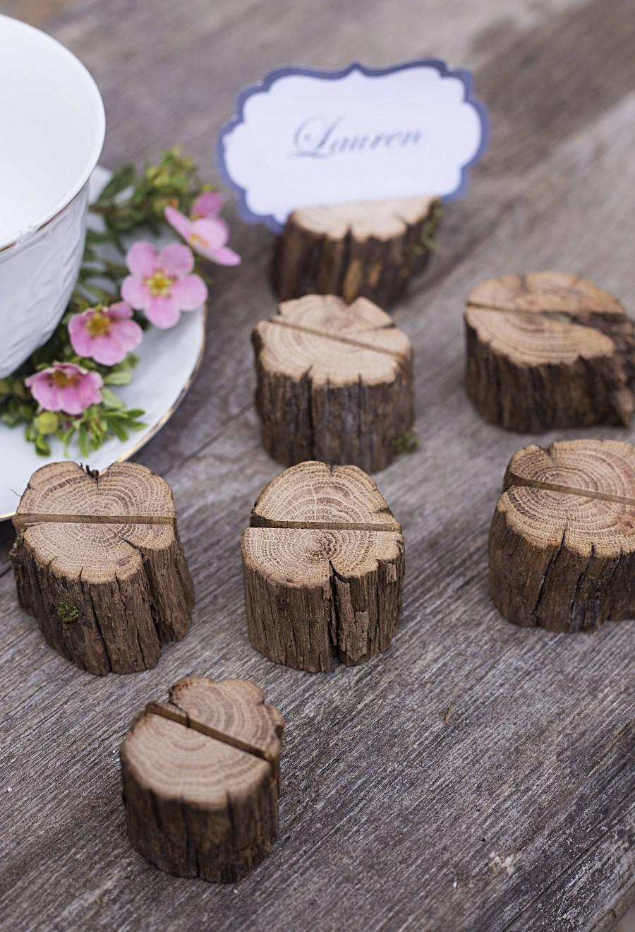 Wedding - 10 Wood wedding place card holders, rustic name card holder, wooden escort card holder, wood wedding table decor, wedding card holder