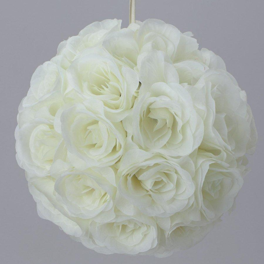 Wedding - Silk kissing pomander flower ball IVORY