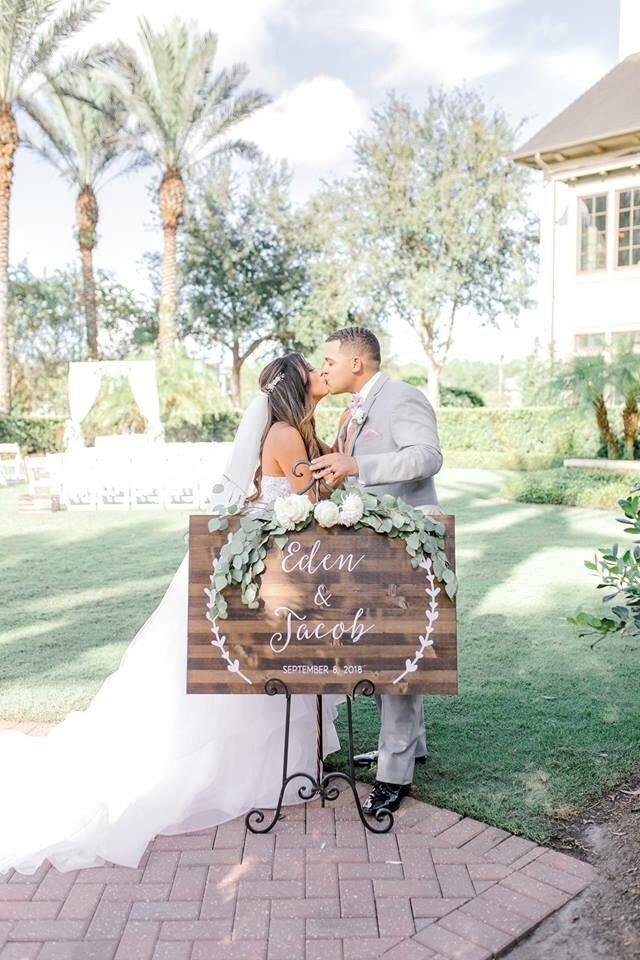 Wedding - Wedding Sign, Custom Wedding Sign, Custom Wedding Date and Names, Rustic Wood Wedding Sign - Wreath Collection