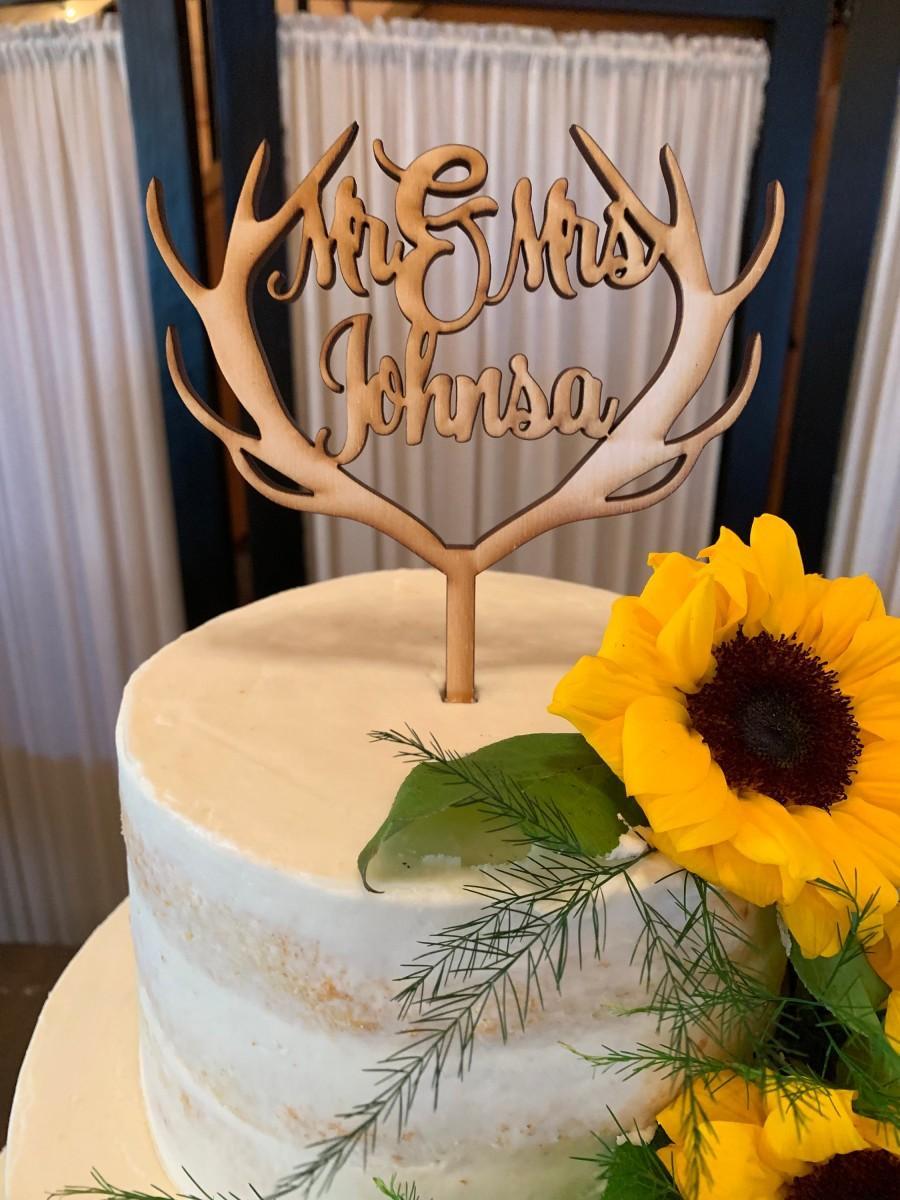 زفاف - Wedding Antler Cake Topper, Mr and Mrs, Unpainted Cake Topper, Wedding Decor, Rustic Cake Topper, Bride and Groom, Custom Cake Topper