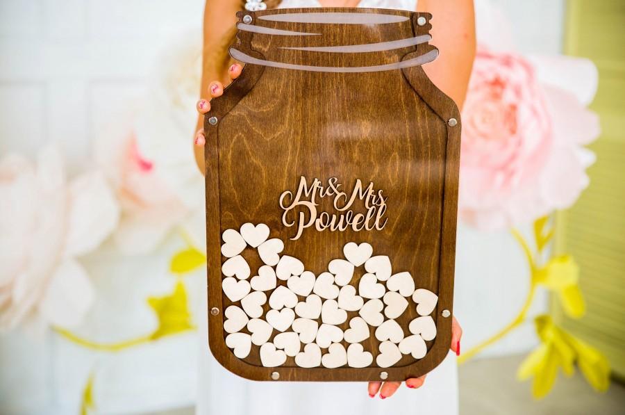 زفاف - Rustic Wedding guest book, Mason Jar, wooden wedding guestbook, wedding guest book, wedding sign, guest book, Guestbook, drop box wedding