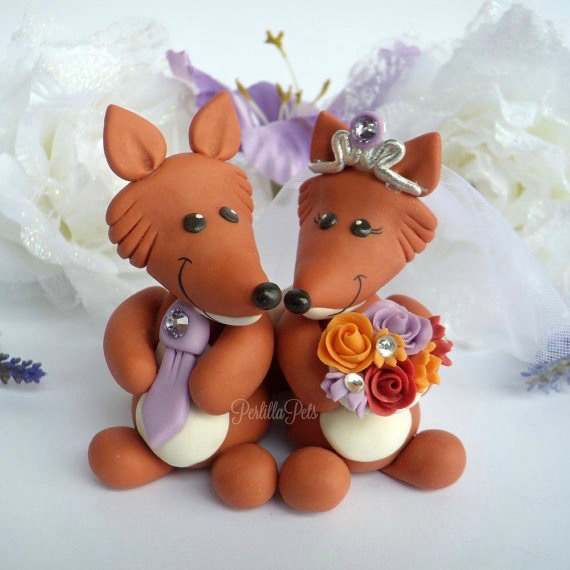 Wedding - Fox cake topper wedding, woodland cake topper, rustic animals cake topper, cute fox in love, wild one cake topper