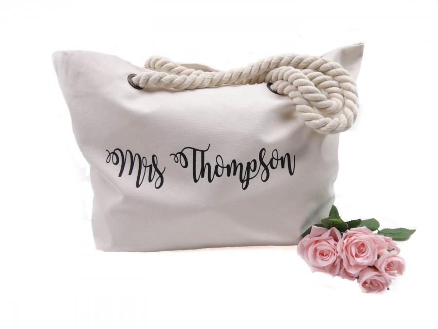Wedding - Custom Mrs. Beach Bag - Mrs Tote Bag - Bridal Shower Gift - Bridal Shower Gift - Honeymoon beach bag - Bachelorette party tote bags -