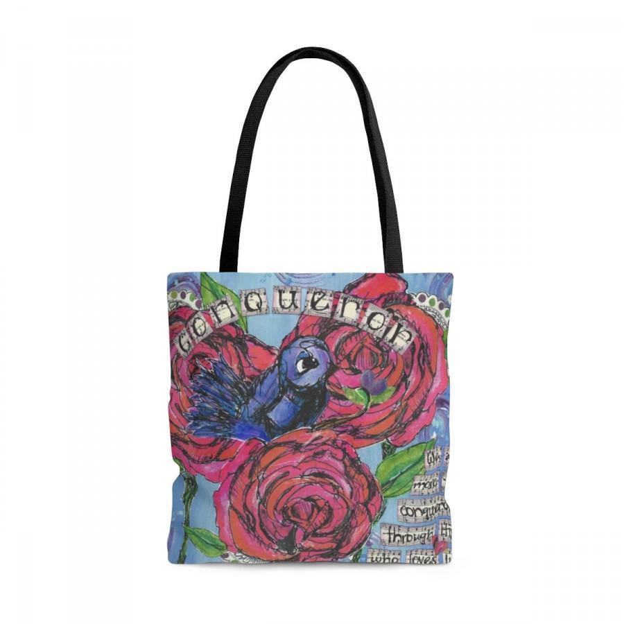 زفاف - Conqueror Tote Bag, Tote Bag with Blue Bird, Book Bag with Bible Verse, Mothers Day Gifts, Inspirational Gifts, Carry-All bag with Roses