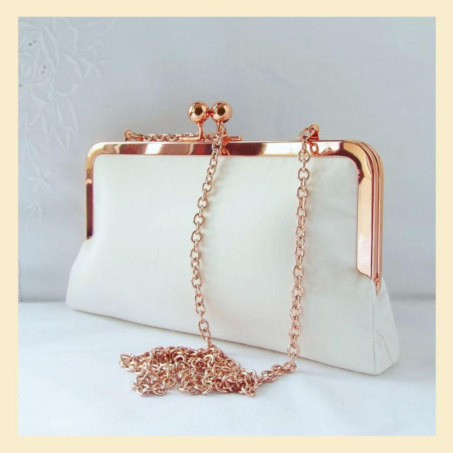 Mariage - shoulder bag, wedding clutch bag in ivory silk, bridal purse with shoulder chain or wristlet, rose gold handbag for the bride