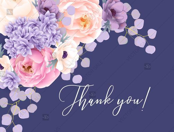 Mariage - Thank you card pink peach peony hydrangea violet anemone eucalyptus greenery pdf custom online editor invitation template