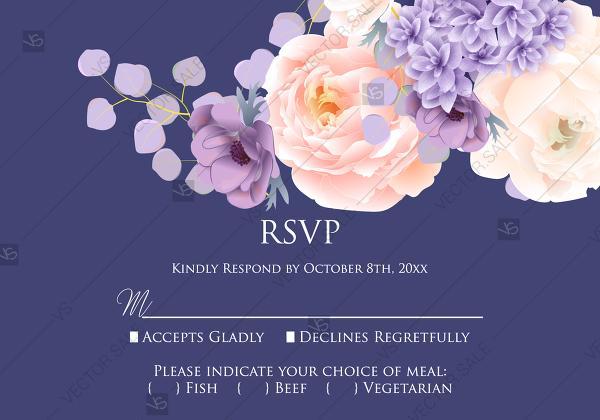 Hochzeit - RSVP card pink peach peony hydrangea violet anemone eucalyptus greenery pdf custom online editor anniversary invitation