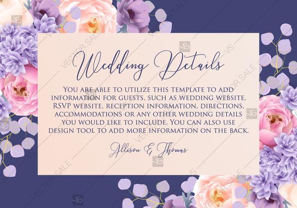 Hochzeit - Wedding details card pink peach peony hydrangea violet anemone eucalyptus greenery pdf custom online editor floral background