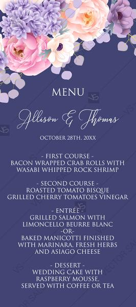 Mariage - Wedding menu card pink peach peony hydrangea violet anemone eucalyptus greenery pdf custom online editor custom invitation