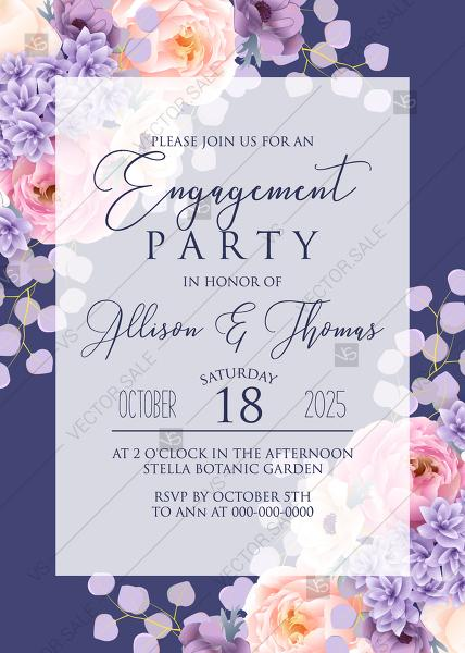 Hochzeit - Engagement part invitation pink peach peony hydrangea violet anemone eucalyptus greenery pdf custom online editor thank you card