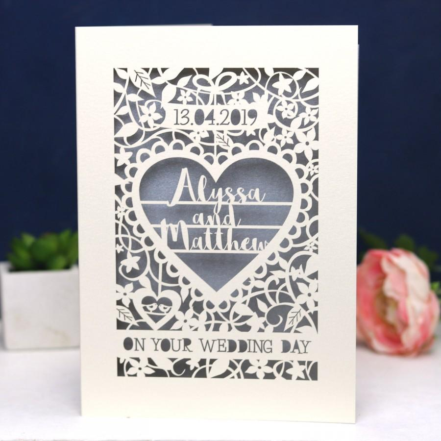 Hochzeit - Personalised Papercut On Your Wedding Day Card, Laser Cut Wedding Card, Paper Cut Card for Weddings, sku_On_Your_Wedding_Day