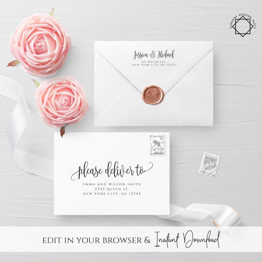 Hochzeit - Calligraphy Envelope Template Wedding Editable DIY Printable Wedding Envelope A7 A6 Envelope Address Template Instant Download Templett R1