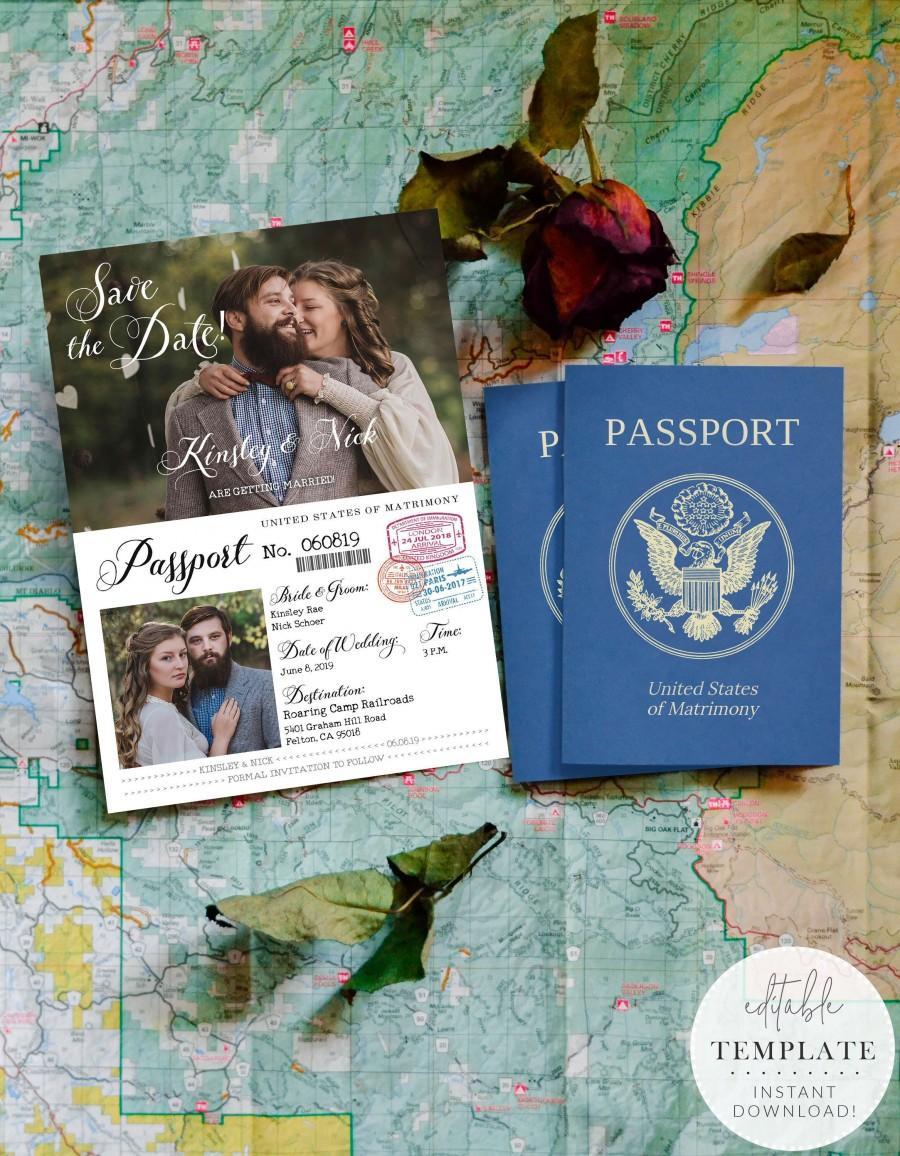Hochzeit - Vintage Passport-Style Save the Date OR Wedding Invitation, Editable, Printable Template, Customize for any event!