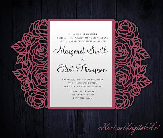 Mariage - Roses Laser cut Wedding invitation, 5x7 Gate fold Card Template, Quinceanera Invitation, SVG cutting file, Silhouette Cameo, Cricut