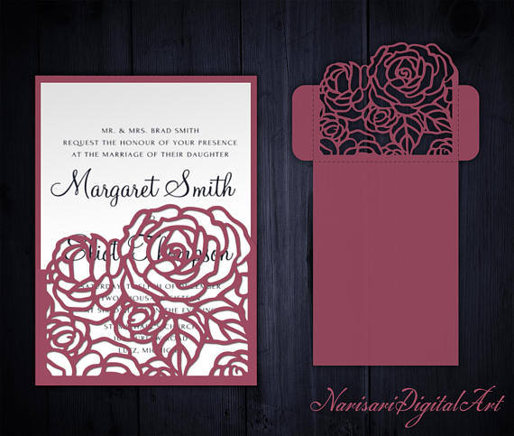Hochzeit - Roses Wedding Invitation Pocket Envelope 5x7, SVG Template, Quinceanera card, floral laser cut file, Silhouette Cameo, Cricut