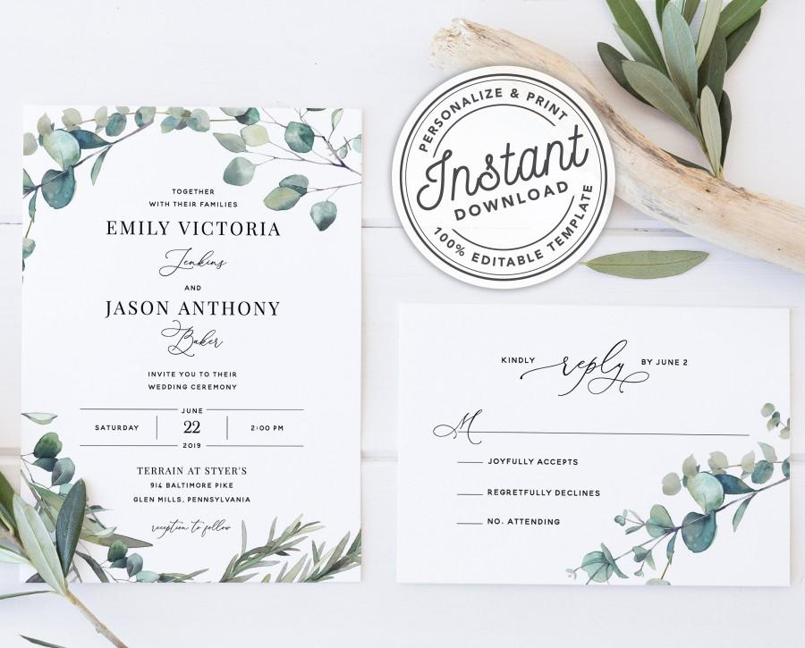 Mariage - Bohemian Wedding Invitation Template Suite with Eucalyptus Greenery Border • INSTANT DOWNLOAD • Printable, Editable Template #023