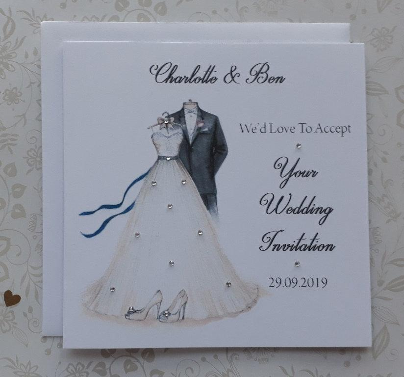 "Mariage - Handmade Personalised 5"" Square Wedding Acceptance Card (c539)"