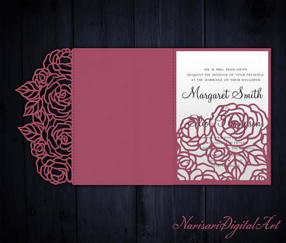 Hochzeit - Tri-Fold Roses 5x7 Wedding Invitation Pocket Envelope SVG Template, Quinceanera card, laser cut file, Silhouette Cameo, Cricut