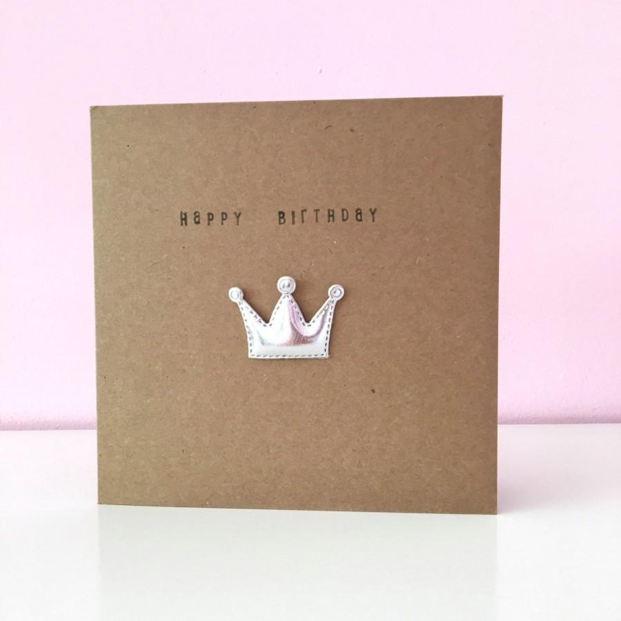 زفاف - Crown Card / Princess / Prince / Hand stamped / Happy Birthday card / new baby / prosecco princess