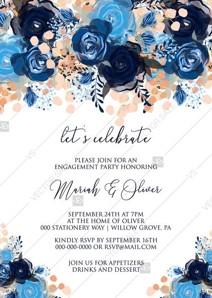 Mariage - Engagement party invitation royal navy blue rose peony indigo watercolor pdf online editor 5''*7''