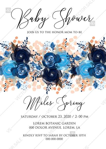 Mariage - Baby shower invitation royal navy blue rose peony indigo watercolor pdf online editor 5''*7''