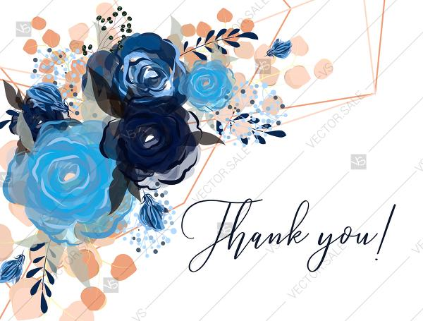Mariage - Thank you card royal navy blue rose peony indigo watercolor pdf custom online editor 5.6*4.25''