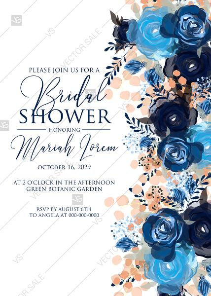 Mariage - Bridal shower invitation royal navy blue rose peony indigo watercolor pdf online editor 5''*7''