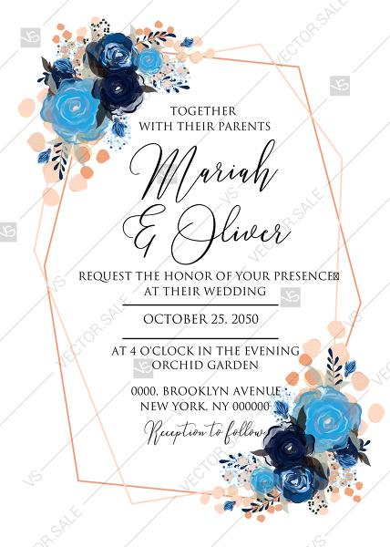 Mariage - Wedding invitation royal navy blue rose peony indigo watercolor pdf online editor 5''*7''