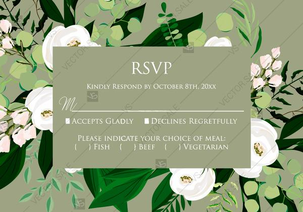 Mariage - RSVP card greenery herbal grass white peony watercolor pdf custom online editor 5*3.5''