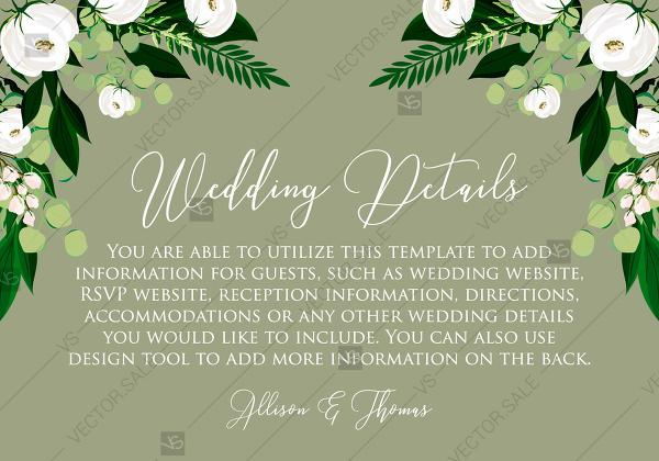 Mariage - Wedding Details card greenery herbal grass white peony watercolor pdf custom online editor 5*3.5''