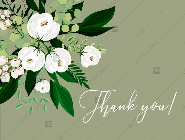 Mariage - Thank you card greenery herbal grass white peony watercolor pdf custom online editor 5.6*4.25''