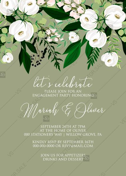 Mariage - Engagement party invitation greenery herbal grass white peony watercolor pdf custom online editor 5''*7''