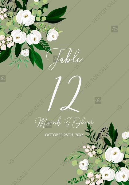 Mariage - Table place card greenery herbal grass white peony watercolor pdf custom online editor 3.5''*5''