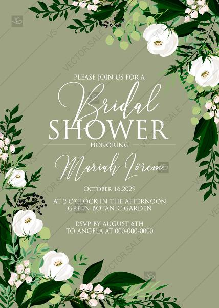Mariage - Bridal shower invitation greenery herbal grass white peony watercolor pdf custom online editor 5''*7''