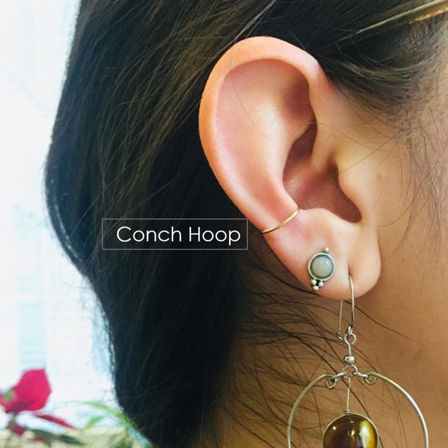 ebb15f045f9d8 Conch Hoop Earring Snug Orbital 10mm 11mm 12mm 13mm Gold Silver Rose ...
