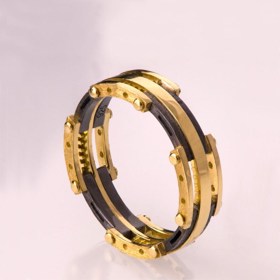 Hochzeit - Men's 14K Gold and Oxidized Silver Wedding band, Men's Wedding Band, Wedding ring, black and gold ring, mens band, mens engagement ring, 3