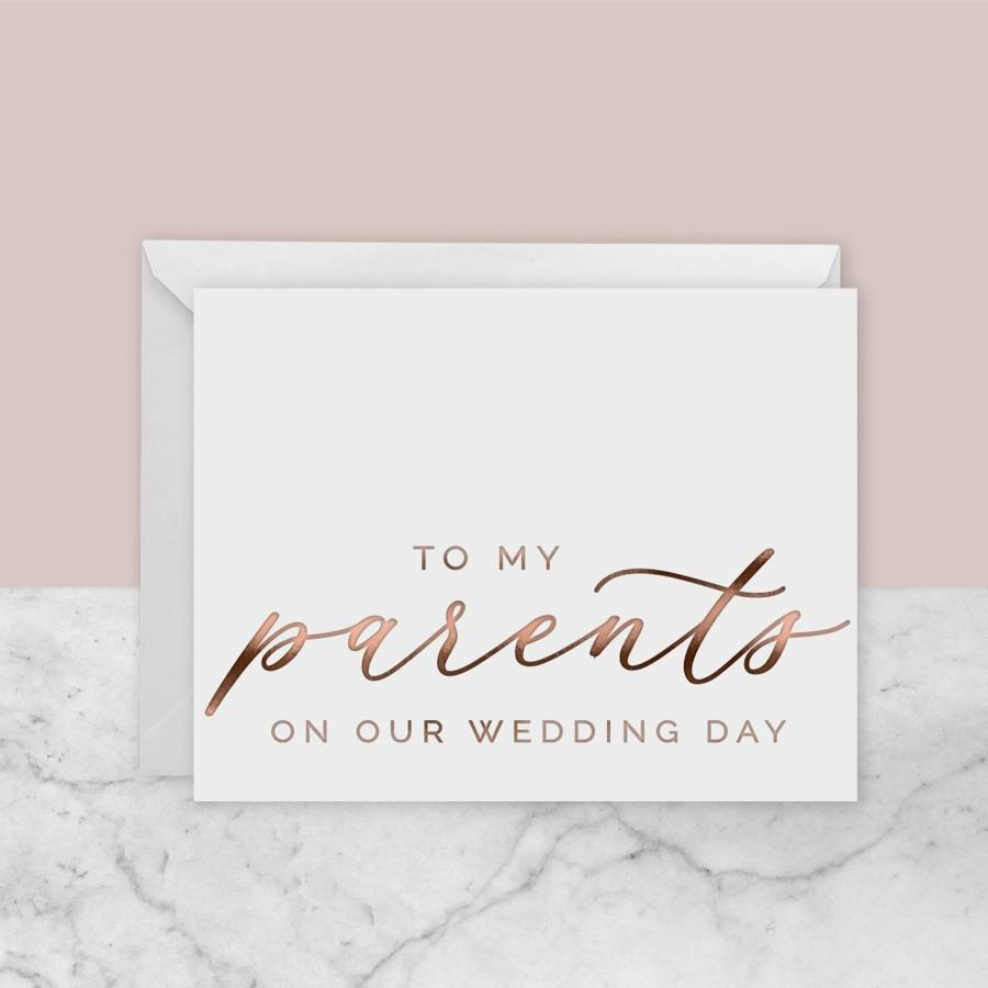 Mariage - To My Parents Card / To My Mom / To My Dad / To My Sister / To My Brother / To My In Laws / On Our Wedding Day Card / Anniversary Card