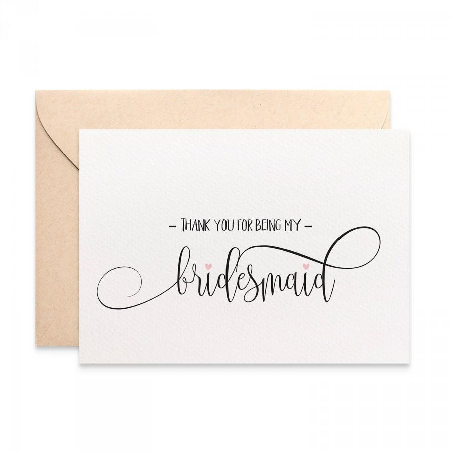 Mariage - Thank you for being my Bridesmaid Card, Bridesmaid Thank You Card, Wedding Card, Script Font, Bridal Party Thank You Cards, WED059