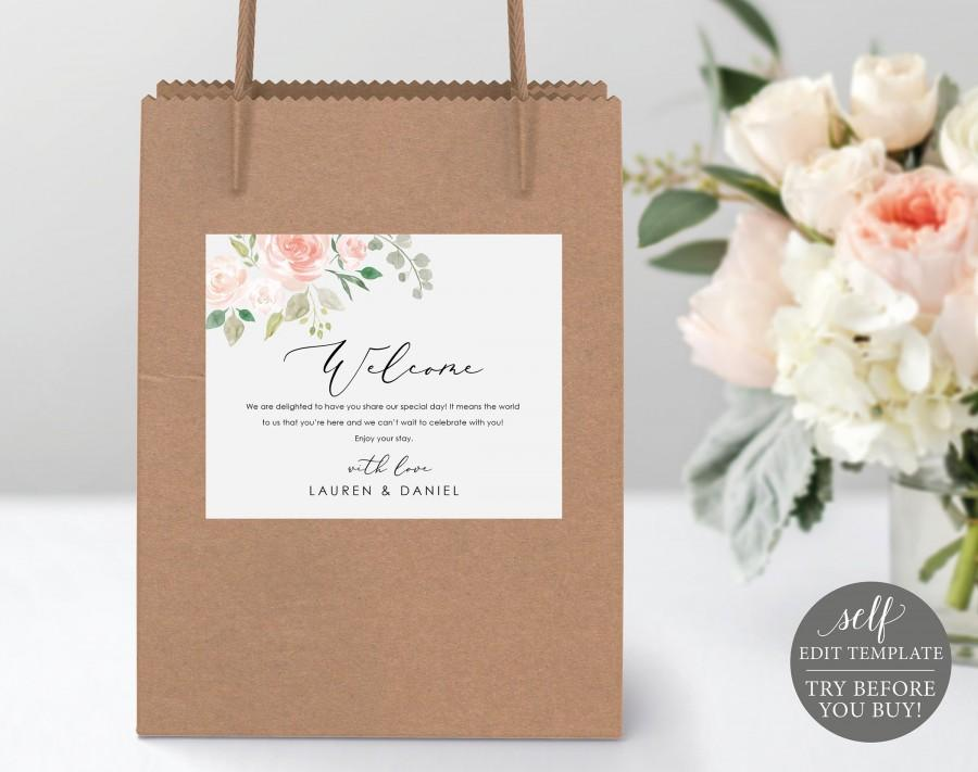 Hochzeit - Floral Welcome Bag Label, 100% Editable, TRY BEFORE You BUY, Wedding Box Label Printable, Wedding Gift Bag Label, Instant Download