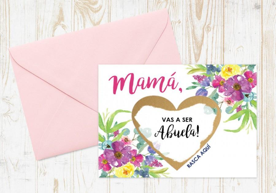 Hochzeit - Scratch Off Mama, vas a ser Abuela! Card - Spanish Pregnancy Announcement Reveal We're Pregnant, Abuela Card w/ Metallic Envelope