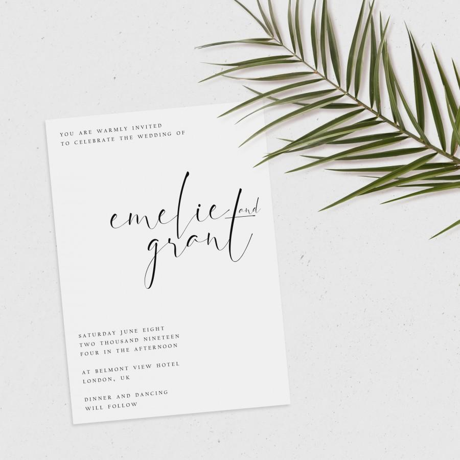 Mariage - Minimalist Wedding Invitation, Printable Invitation, Modern Wedding Invitation, Simple Invitation, Editable Invitation, Printable Wedding